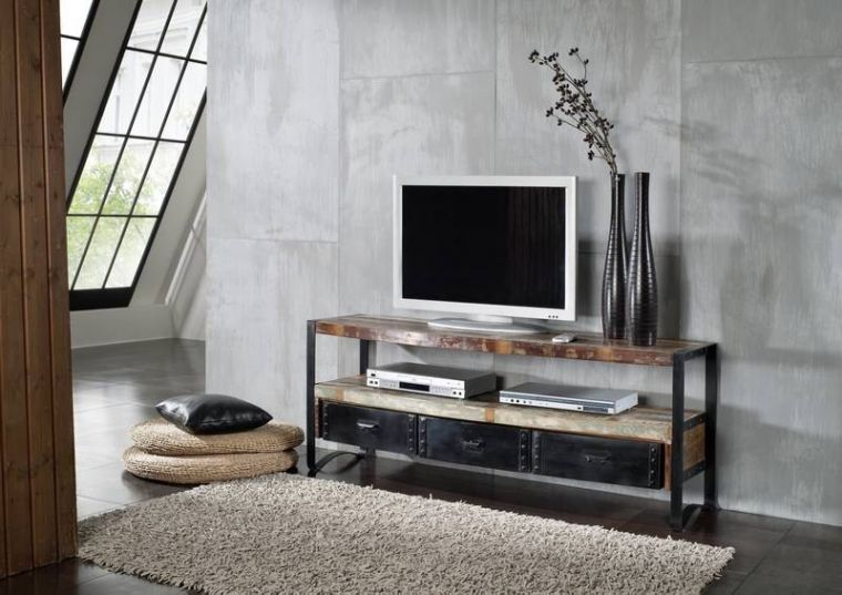 industrial tv board 05 eisen u altholz. Black Bedroom Furniture Sets. Home Design Ideas