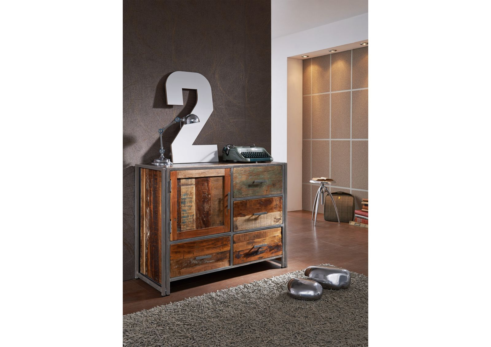new york sideboard 10 indisches altholz lack metall. Black Bedroom Furniture Sets. Home Design Ideas