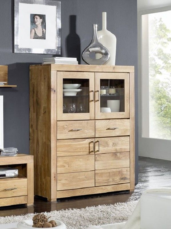berlin highboard 03 wildeiche massiv ge lt. Black Bedroom Furniture Sets. Home Design Ideas