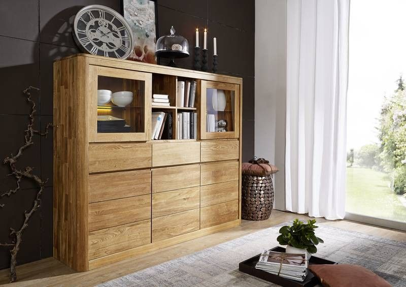 linz highboard 101 wildeiche massiv ge lt. Black Bedroom Furniture Sets. Home Design Ideas