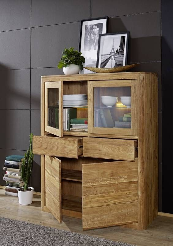 linz highboard 102 wildeiche massiv ge lt. Black Bedroom Furniture Sets. Home Design Ideas