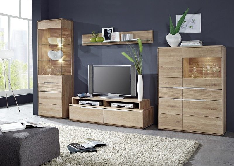 oslo wohnwand 932 wildeiche massiv hell ge lt. Black Bedroom Furniture Sets. Home Design Ideas