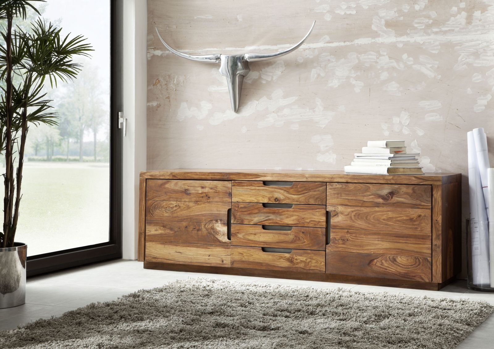 Sideboard Sheesham 205x50x65 Walnuss Lackiert DUKE 116