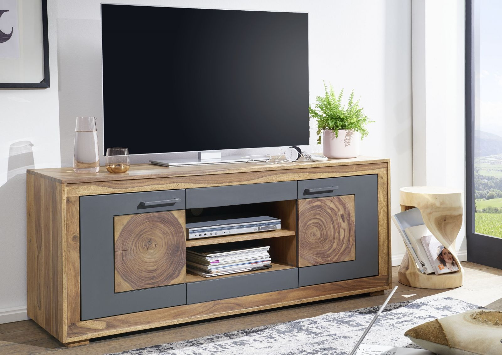 tv board sheesham 150x46x62 gebeizt turin 02. Black Bedroom Furniture Sets. Home Design Ideas