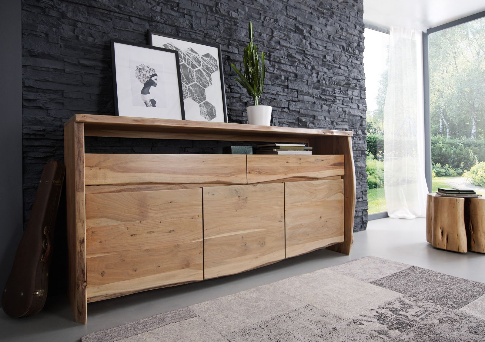 sideboard akazie 191x45x96 natur lackiert live edge 102. Black Bedroom Furniture Sets. Home Design Ideas