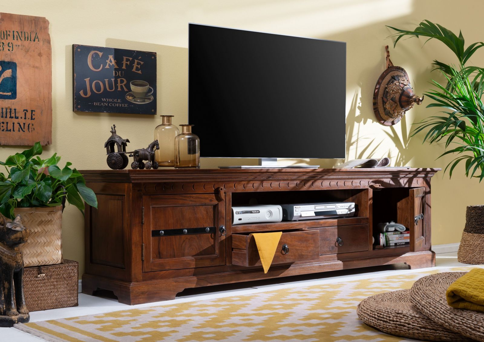 tv board akazie 200x45x55 nougat lackiert oxford 326. Black Bedroom Furniture Sets. Home Design Ideas