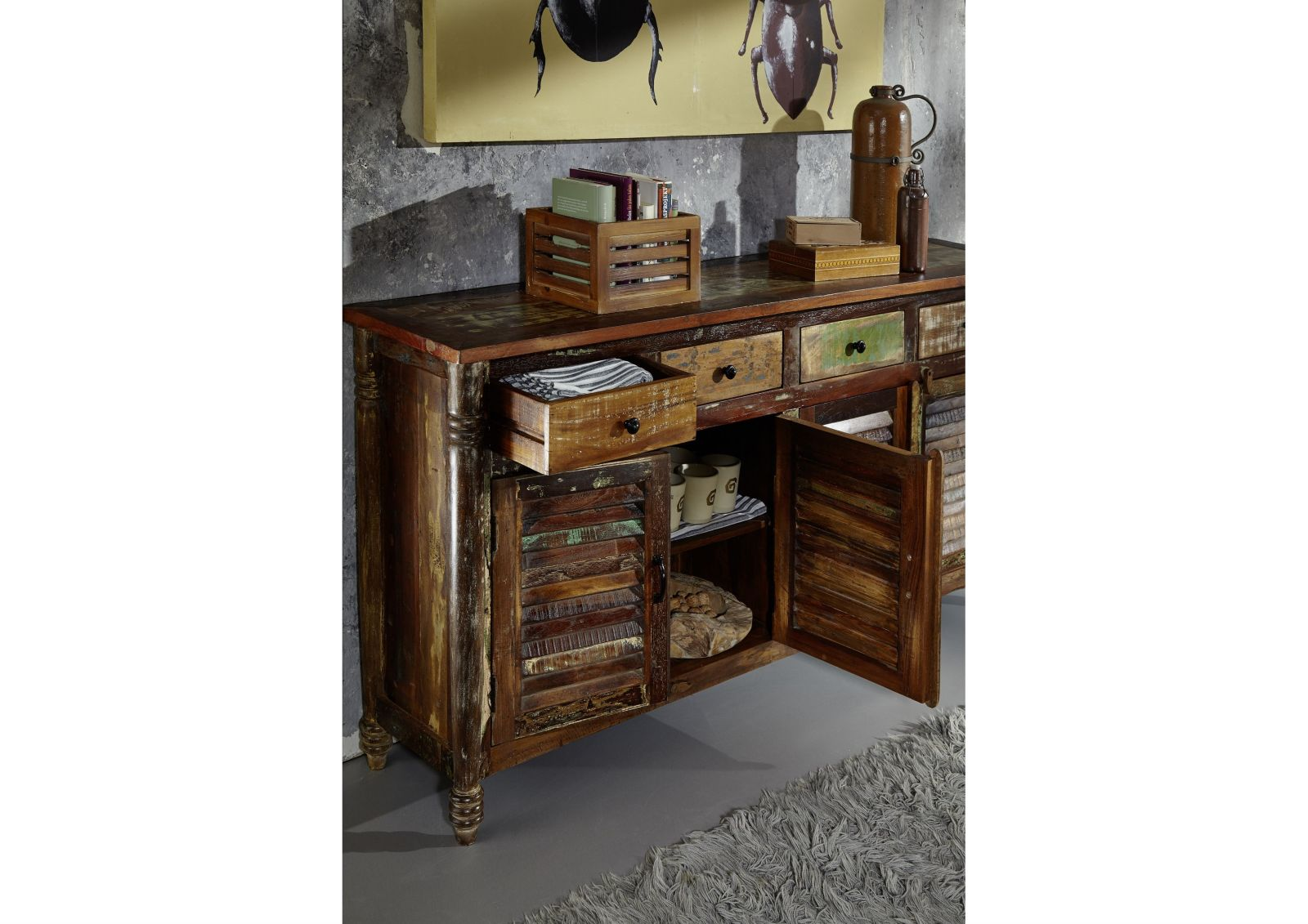 fable sideboard 17 indisches altholz lack. Black Bedroom Furniture Sets. Home Design Ideas