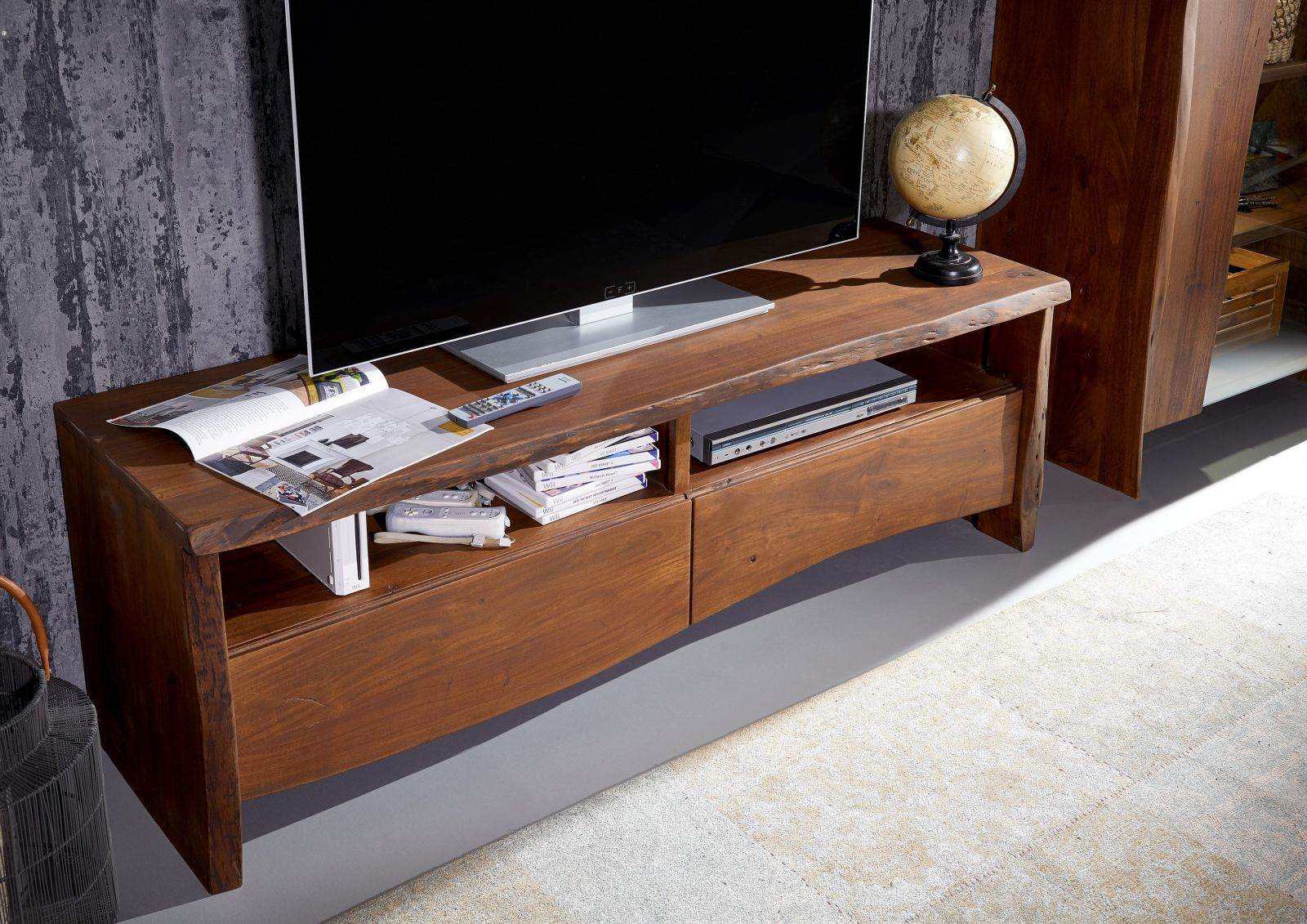 tv board akazie 151x45x50 braun lackiert live edge 208. Black Bedroom Furniture Sets. Home Design Ideas