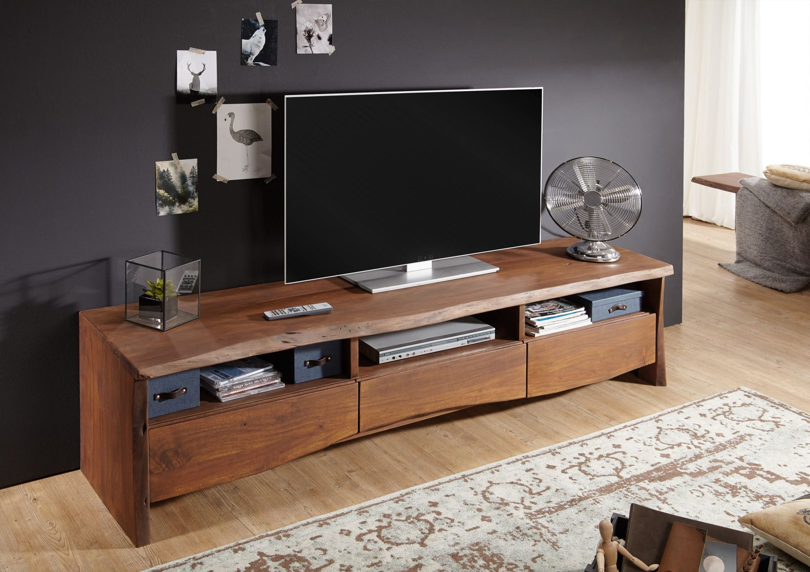 tv board akazie 191x45x50 braun lackiert live edge 209. Black Bedroom Furniture Sets. Home Design Ideas