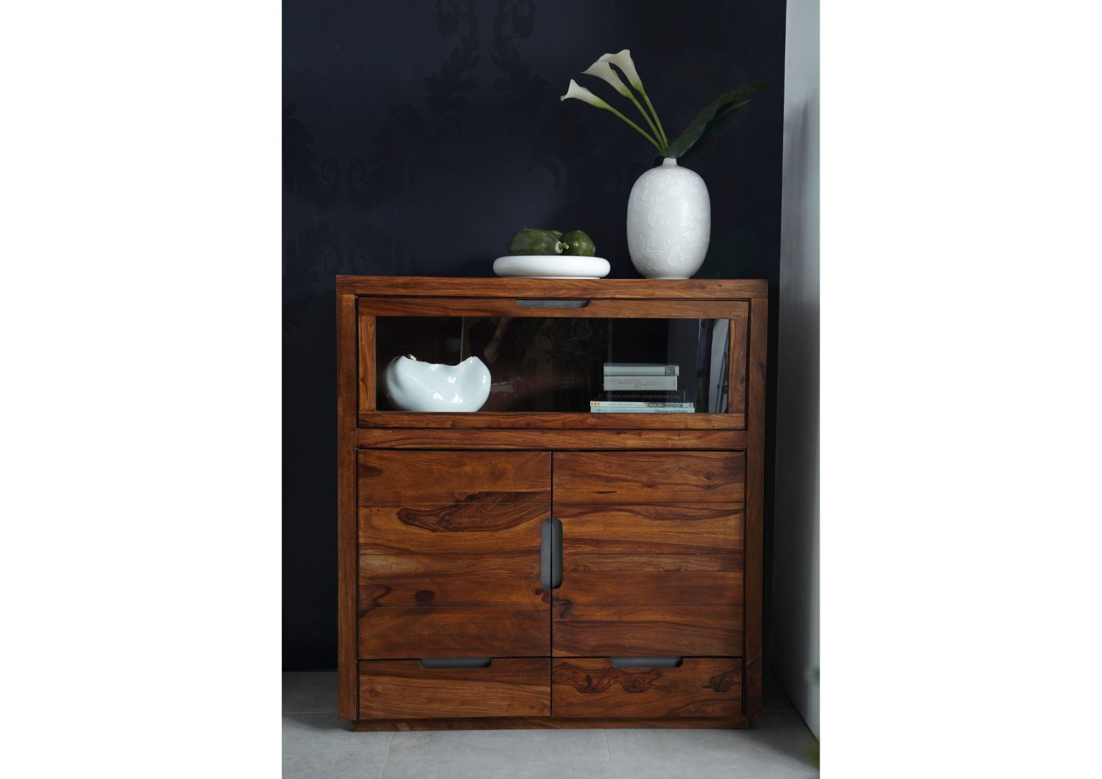 Duke Highboard 118 Sheesham Palisander Möbel Massiv