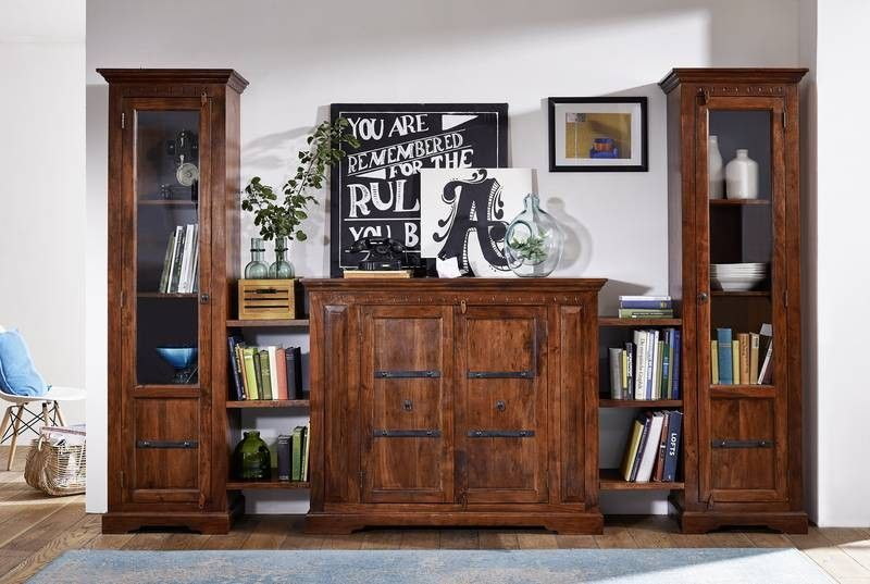kolonialstil wohnwand massiv akazie m bel oxford 600. Black Bedroom Furniture Sets. Home Design Ideas