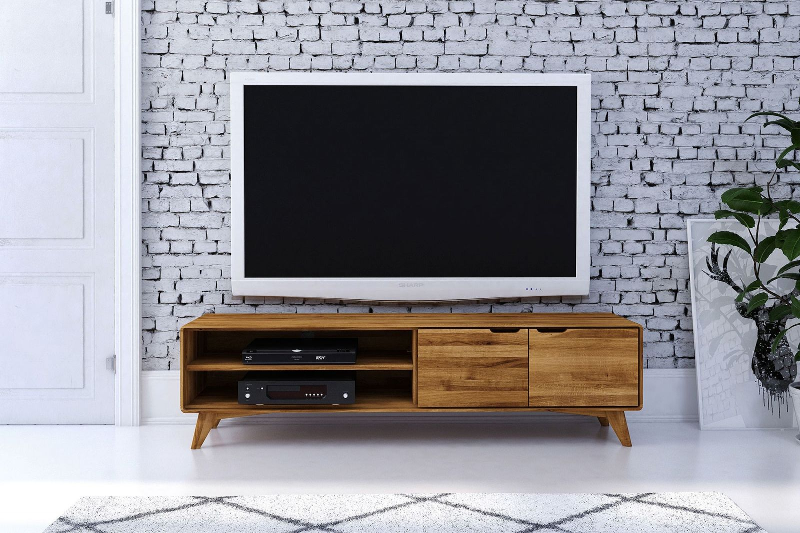 tv board wildeiche 180x40x48 natur ge lt ben 36. Black Bedroom Furniture Sets. Home Design Ideas