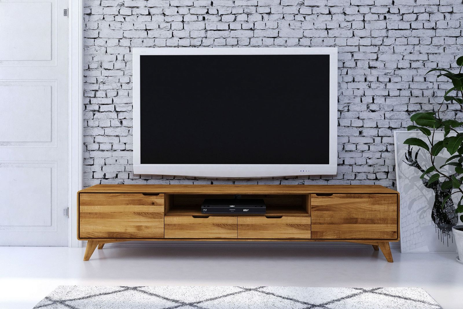 tv board wildeiche 220x40x48 natur ge lt malm 37. Black Bedroom Furniture Sets. Home Design Ideas