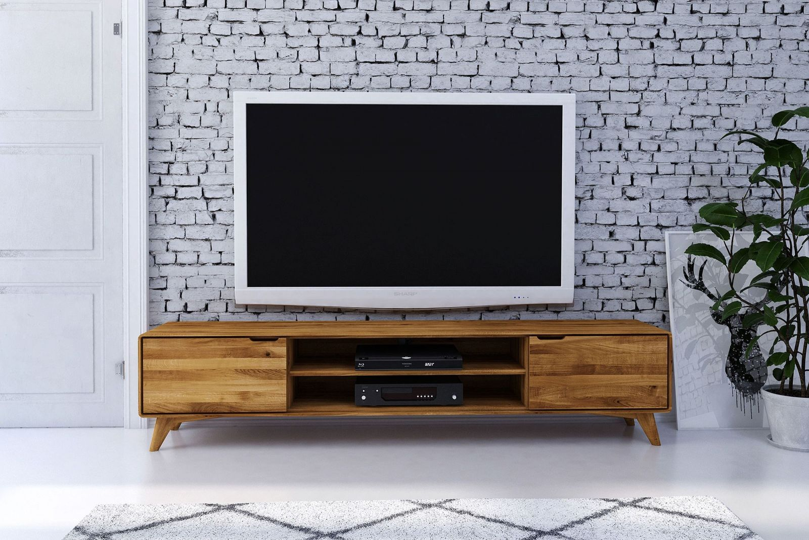tv board wildeiche 220x40x48 natur ge lt ben 38. Black Bedroom Furniture Sets. Home Design Ideas