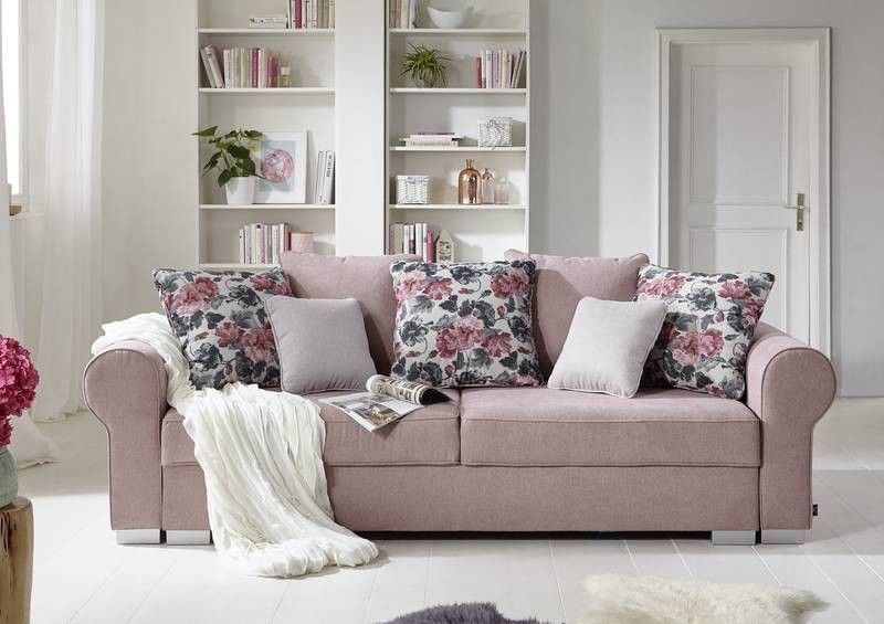 sofa mit schlaffunktion u bettkasten 256x106x74 rosa deluxe comfort. Black Bedroom Furniture Sets. Home Design Ideas