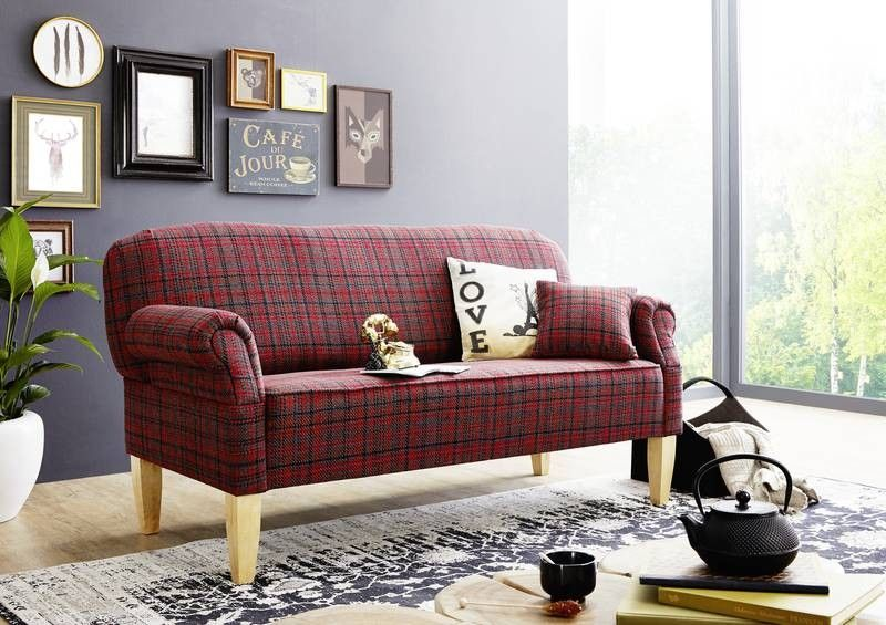 Kuchensofa 195x78x93 rot edinburgh for Küchensofa landhausstil