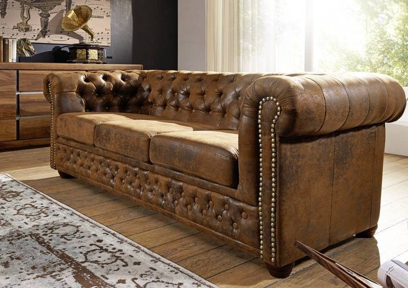 oxford 3 sofa chesterfield antik look vintage braun. Black Bedroom Furniture Sets. Home Design Ideas