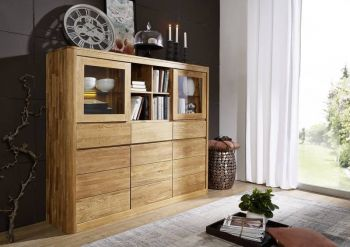 LINZ Highboard #101 160x40x139 Wildeiche massiv natur geölt
