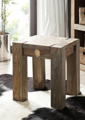 Palisander Holz massiv Hocker Sheesham Möbel NATURE GREY #10