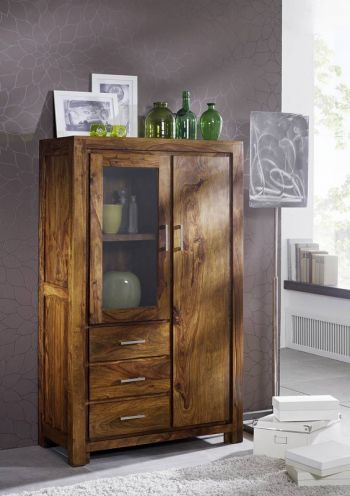 Sheesham Massivholz Highboard Palisander Möbel METRO LIFE #108