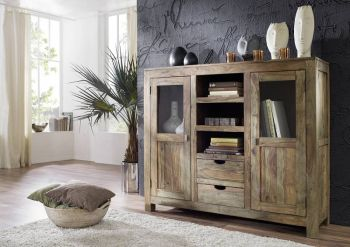 Sheesham Möbel Highboard Palisander Massivholz NATURE GREY #63