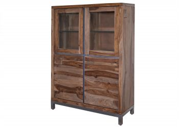 Highboard Sheesham / Akazie 103x40x148 gebeizt LE HAVRE #02
