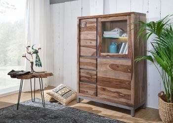 Highboard Sheesham / Akazie 103x40x148 gebeizt LE HAVRE #06