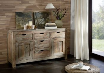 Sideboard Sheesham 140x42x80  grau geölt NATURE GREY #80