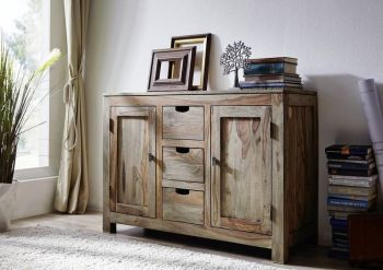 Sideboard Sheesham 120x45x85  grau geölt NATURE GREY #83