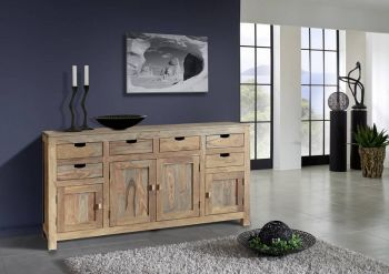 Sideboard Sheesham 180x45x95  grau geölt NATURE GREY #84