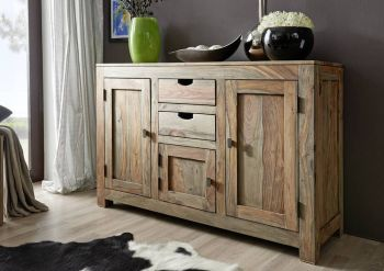 Sideboard Sheesham 130x45x85  grau geölt NATURE GREY #86