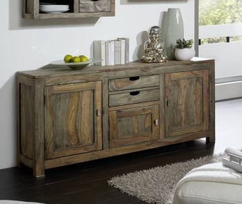 Sideboard Sheesham 160x42x75  grau geölt NATURE GREY #89