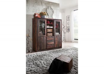 PURE SHEESHAM Highboard #882 Palis. strong grey geölt