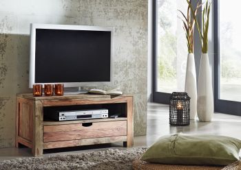 Sheesham Möbel TV-Board Palisander Massivholz NATURE GREY #0126