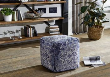 LINCOLN TWO Pouf Hocker blau