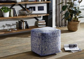 BOSTON Pouf Hocker blau