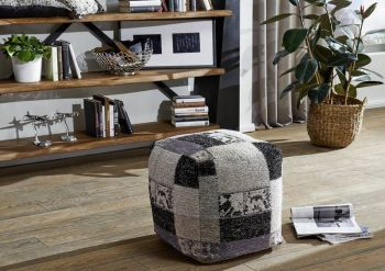 NEW TILE PATCHWORK Pouf Hocker schwarz-weiß