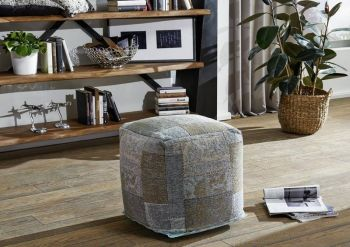 NEW TILE PATCHWORK Pouf Hocker aqua-blau