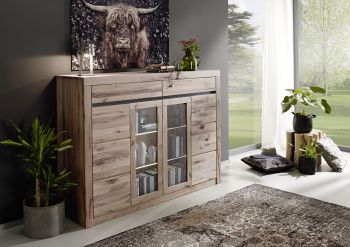 Highboard Wildeiche 170x45x125 bianco geölt MONTREUX #212