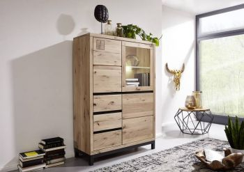 Highboard Wildeiche 103x40x148 bianco geölt VILLANDERS #206 modern