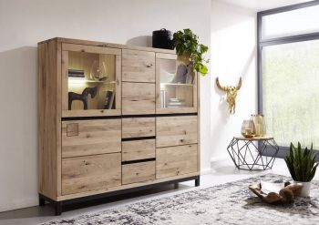 Highboard Wildeiche 166x40x148 bianco geölt VILLANDERS #207 modern