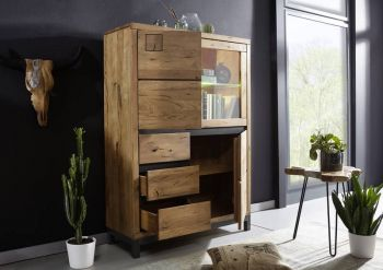 Highboard Wildeiche 103x40x148 Tabacco brown geölt VILLANDERS #306 modern