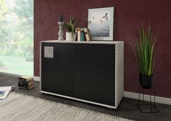 Sideboard Wildeiche 110x42x78 ice grey lackiert HELSINKI #201