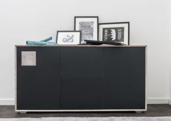 Sideboard Wildeiche 150x42x78 ice grey lackiert HELSINKI #202