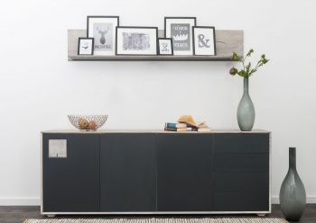 Sideboard Wildeiche 210xx42x78 ice grey lackiert HELSINKI #206
