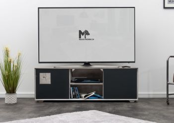 TV-Board Wildeiche 150x50x50 ice grey lackiert HELSINKI #208