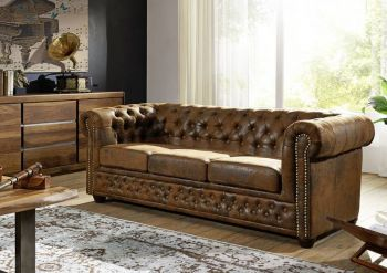 OXFORD 3 Sofa Chesterfield Antik Look Vintage braun