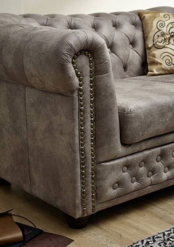 OXFORD Sofa Chesterfield Antik Look Vintage silber