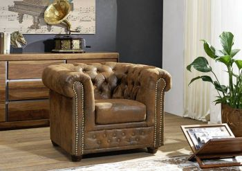 OXFORD Sessel Chesterfield Antik Look Vintage braun